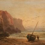 Steilküste mit Boot u. Fischer, sign. unleserlich Datierung ev. 1857