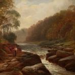 Englische Flusslandschaft mit Wanderer, Walter Linsley Meegan ( 1859 - 1944 ) signiert W.Linsley