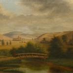 Landschaft Italien / Toskana, ohne Signatur u. Datierung Fluß m. Brücke u. Wanderer, Hügel, Kloster o. ä., Biedermeier od etwas früher