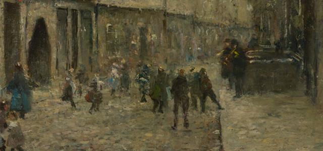 Rudolf HÖCKNER (1864-1942) Straßenszene mit über 20 Personen