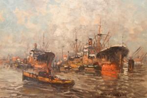 """BI002 - Hafenmotiv """"Schiffe an den Duckdalben signiert"""