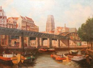 Stadtansicht mit Kanal und Schiffen